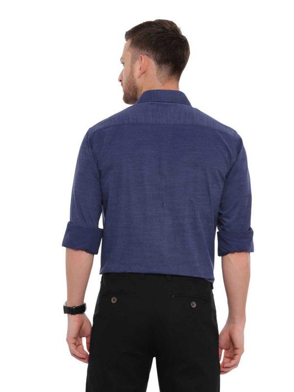 Croydon UK Navy Blue Formal Regular Shirt