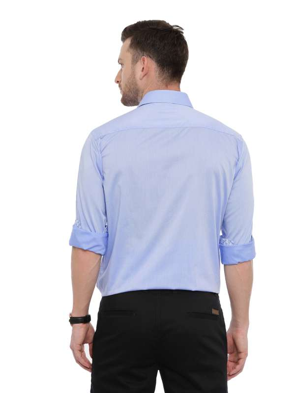 Light Blue Semi Casual Regular Shirt with Collar and Cuff detailing