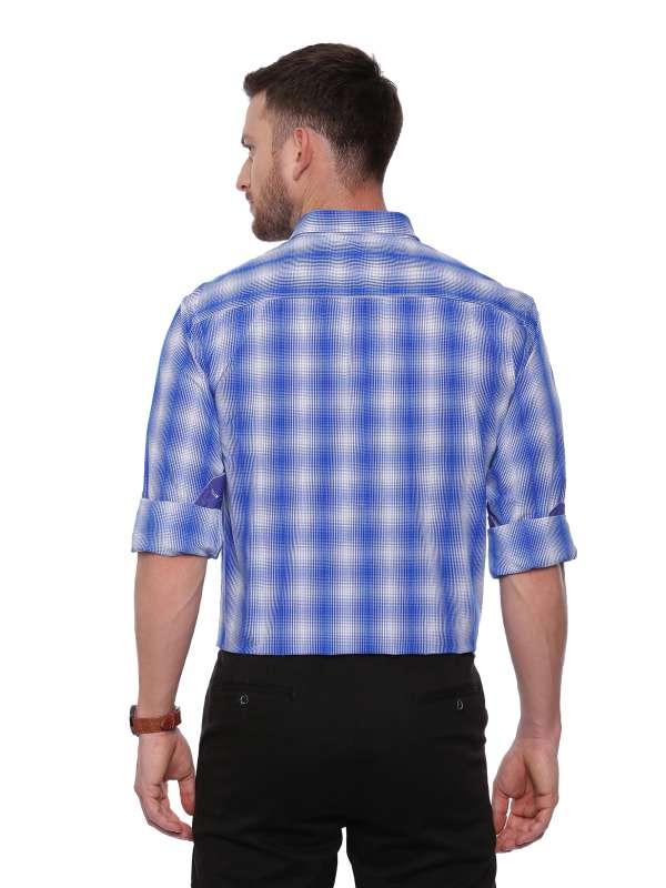 Blue Semi Casual Regular tailored checkered shirt