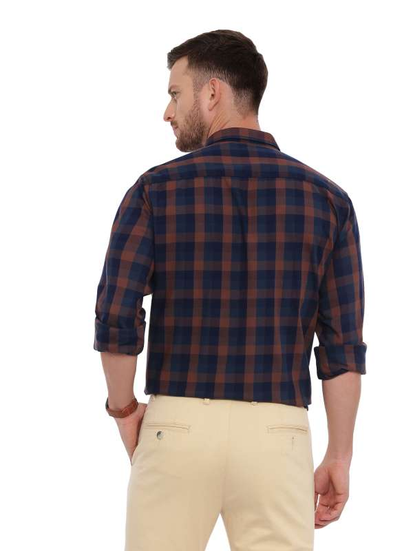Navy Blue Semi Casual Regular tailored checkered shirt