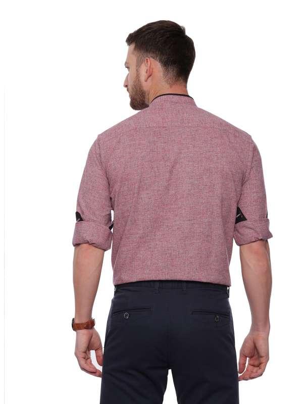 Red Semi Casual Mandarin tailored shirt with Mandarin Collar