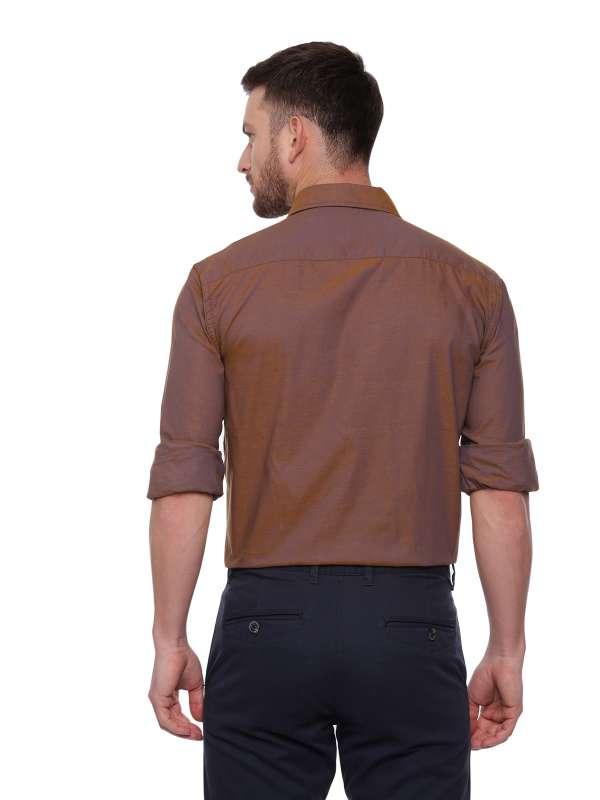 Brown Formal Regular tailored solid shirt