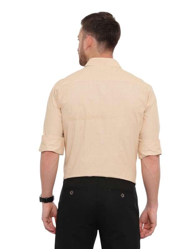 Beige Formal Regular tailored solid shirt