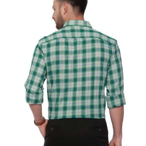 Green SemiCasual Regular tailored checkered shirt