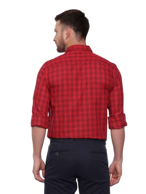 Red Smart formal Regular Mens tailored checkered shirt