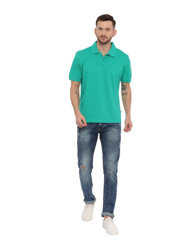 Green Regular Solid Polo Neck T-Shirt