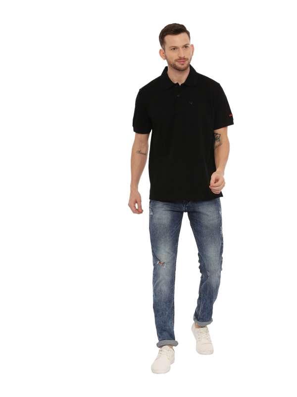 Black Regular Solid Polo Neck T-Shirt