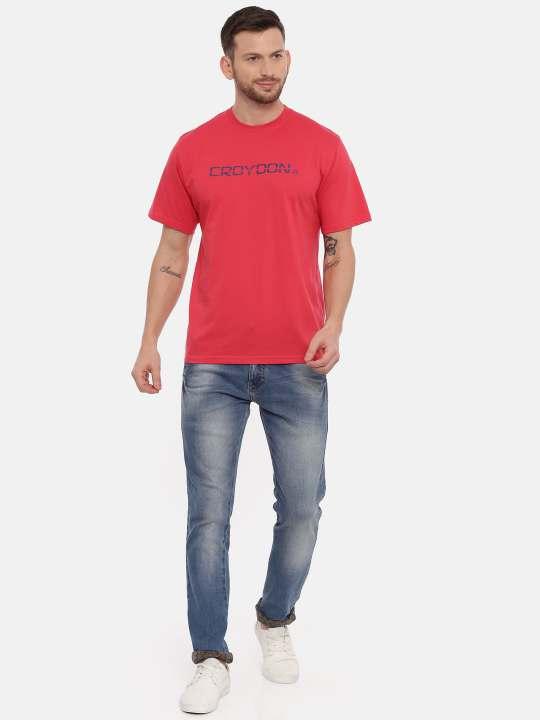 Pink And Grey Crewneck Typographic Printed T-Shirt Combo