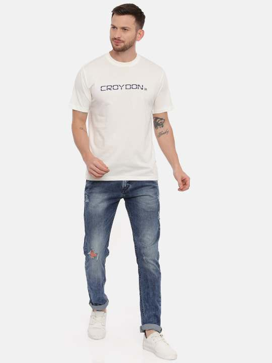 Wine And Off White Crewneck Typographic Printed T-Shirt Combo