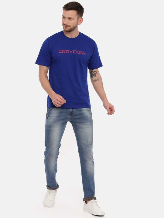 Violet And Air force Crewneck Typographic Printed T-Shirt Combo