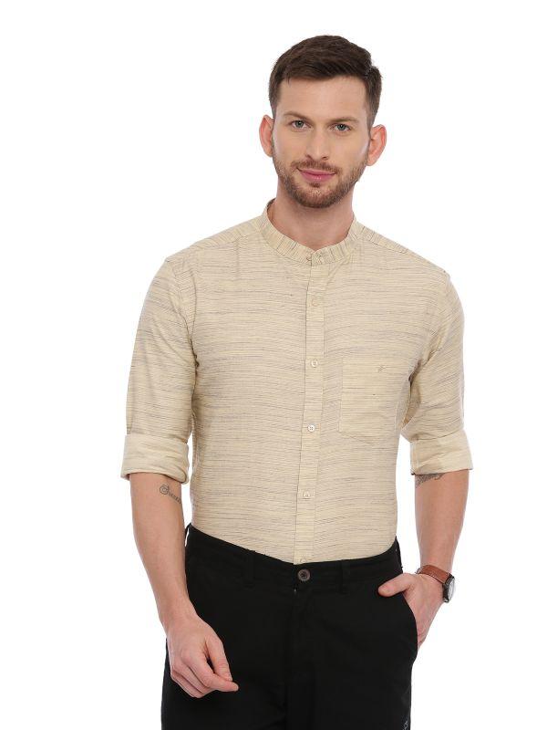 Beige Semi Casual Mandarin Solid Shirt