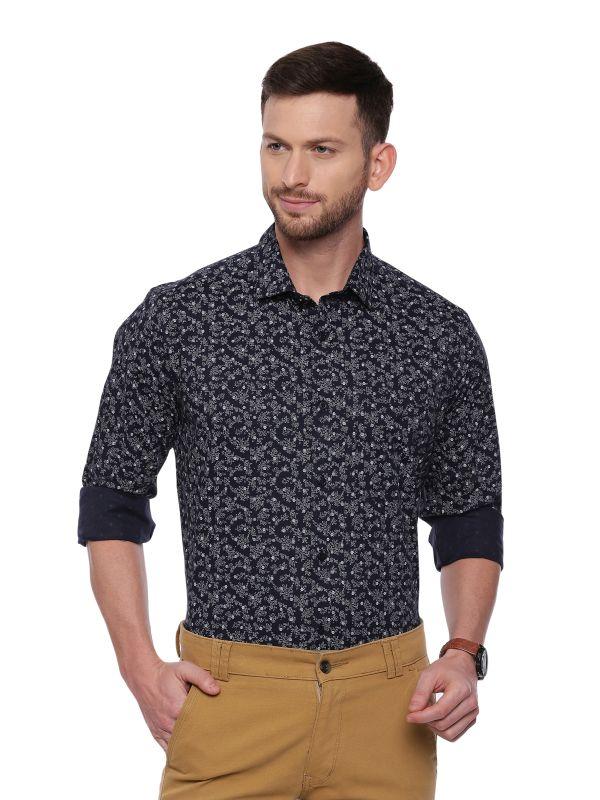 Black Semi Casual Regular Printed Full Sleeve Shirt