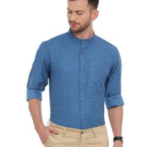 Blue Semi Casual Mandarin Solid Shirt