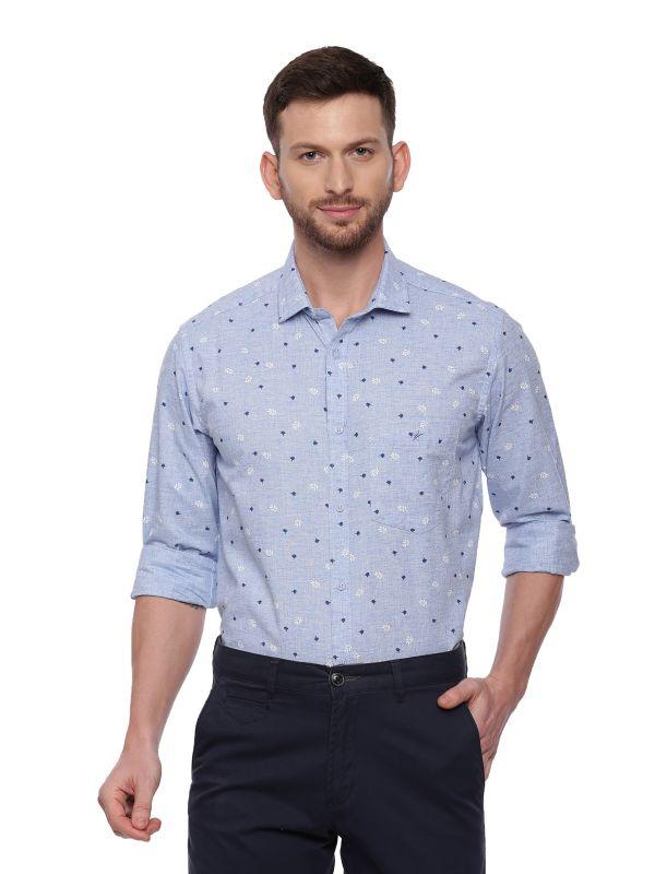 Blue Semi Casual Regular Printed Full Sleeve Shirt