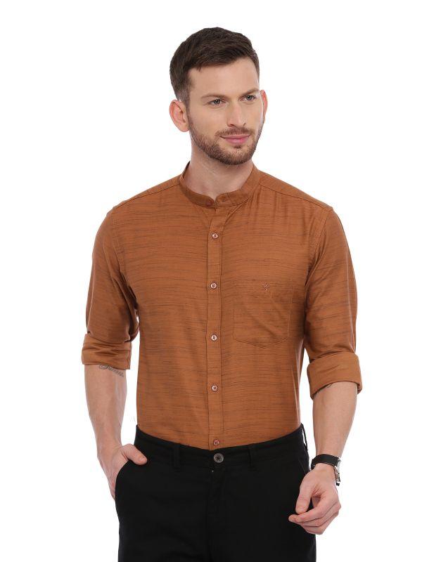 Brown Semi Casual Mandarin Solid Shirt