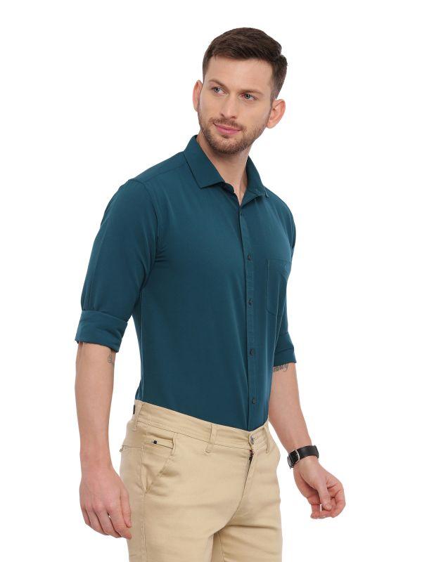 Green Formal Men Regular Soild Shirt