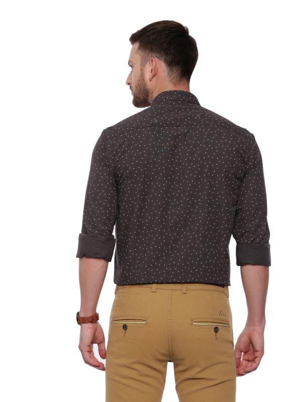 Grey Semi Casual Regular Mens Printed Shirt