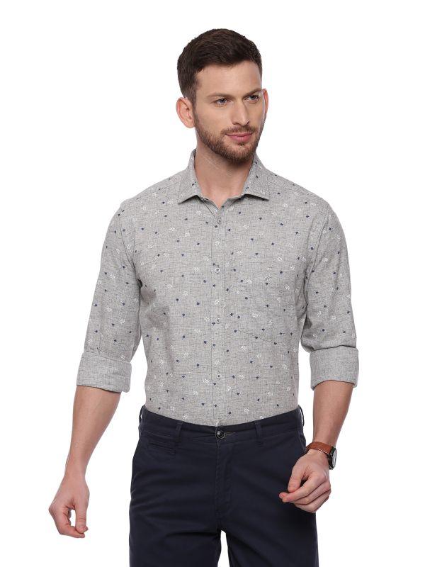 Grey Semi Casual Regular Printed Full Sleeve Shirt