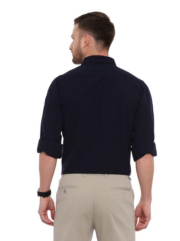 Navy Blue Formal Men Regular Solid Shirt