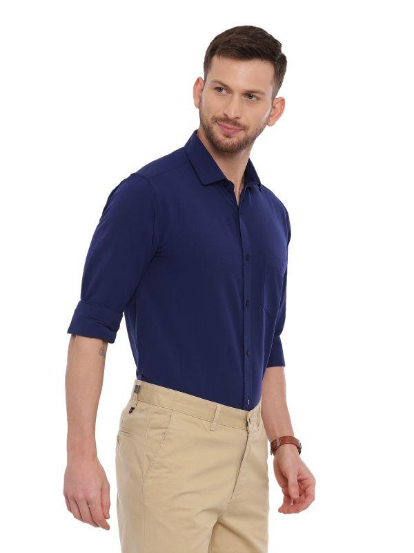 Navy Blue Formal Regular Solid Shirt