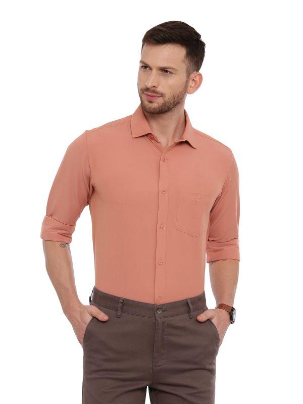 Orange Formal Regular Soilid Shirt