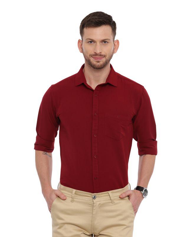 Red Formal Regular Soild Shirt