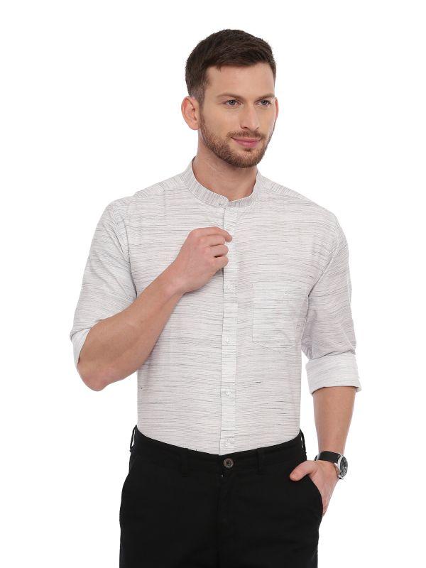 White Semi Casual Mandarin Solid Shirt